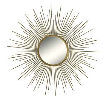 mirror 36. 36\u0026quot; Decorative Wall Hanging Mirror In Sunburst Shape, Brushed Gold Round 36 I