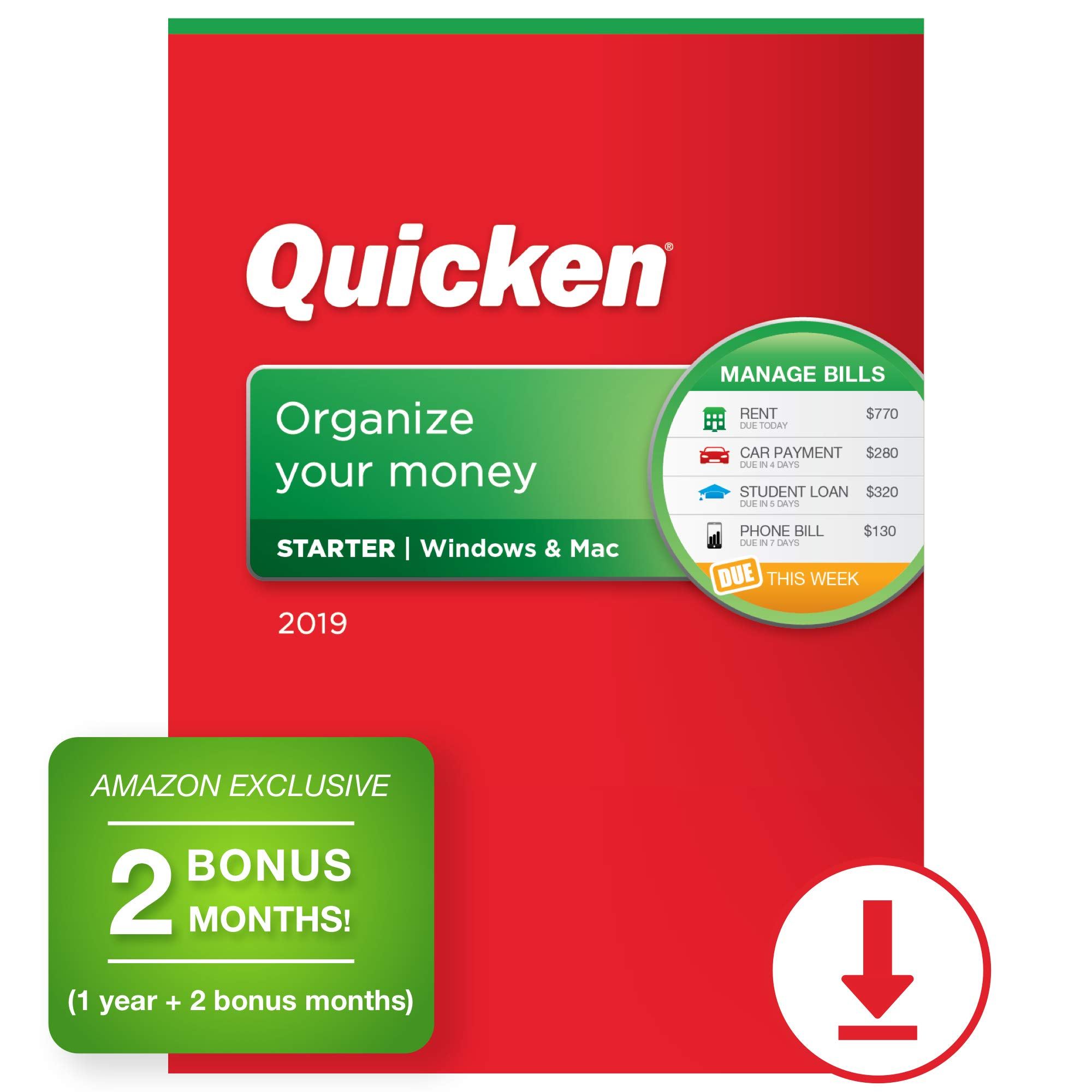 Quicken Starter 2019 Personal Finance Software [PC/Mac Download] 1-Year Subscription + 2 Bonus Months [Amazon Exclusive] by Quicken