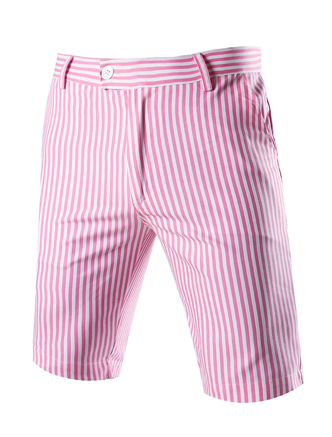 uxcell Men Stripes Flat Front Plain-Front Mid Rise Chino Walk Shorts g15070700ux0003