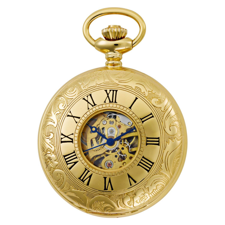 Gotham Men s Gold-Tone 17 Jewel Mechanical Exhibition Pocket Watch GWC14040G