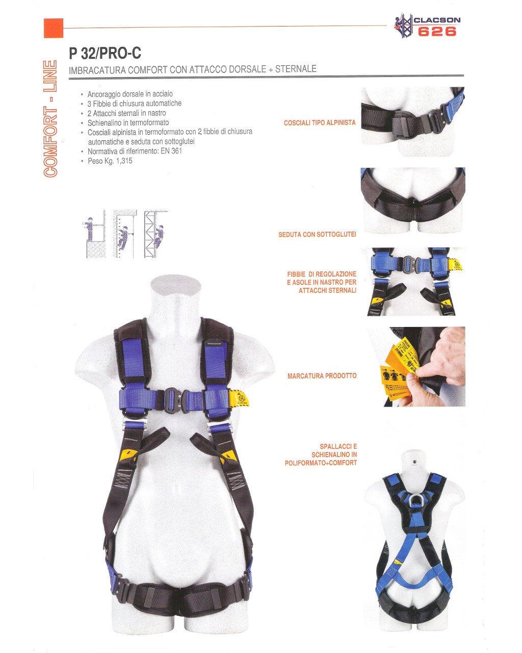 Arnés de seguridad Casquillo dorsal sternale 3 hebillas anticaduta ...