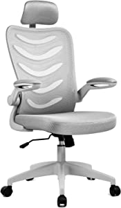 ComHoma Office Chair, High Back Ergonomic Mesh Office Chair Breathable Executive Computer Chair with Flip-Up Armrests Adjustable Headrest and Seat Height (Gray),