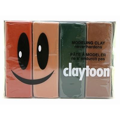 Van Aken International – Claytoon – Non-Hardening Modeling Clay – VA18165 – Earth – Beige, Brown, Terra Cotta, Dark Green – 1 Pound Set (4-1/4 Pound Bars) – claymation, Gluten-Free, Non-Toxic: Toys & Games
