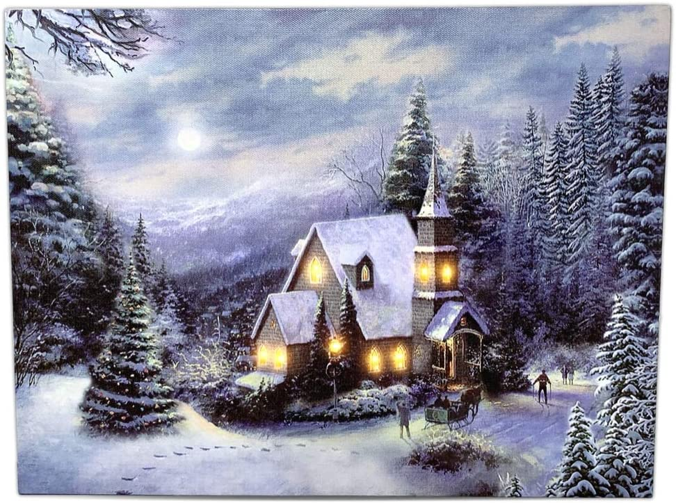 BANBERRY DESIGNS LED Holiday Christmas Canvas Church Print - Light Up Winter Scene - Forest Setting with Snow and Lights - LED Lighted Canvas Wall Art
