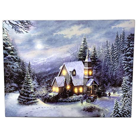 Christmas Pictures To Print.Banberry Designs Led Holiday Christmas Canvas Church Print Light Up Winter Scene Forest Setting With Snow And Lights Led Lighted Canvas Wall Art
