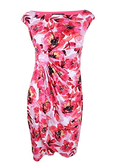 a5ae0db253f6c Connected Apparel Womens Petites Above Knee Floral Print Casual ...