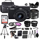 Canon EOS M200 Mirrorless Digital Camera (Black) w/EF-M 15-45mm f/3.5-6.3 is STM + Wide-Angle and Telephoto Lenses + Portable