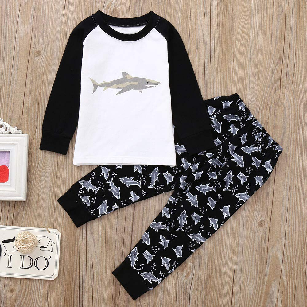65abf9dd8444 Tronet Kids Clothes, Winter Boys Girls Cute Cartoon Shark Print Tops and  Pants Outfits Set …...