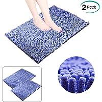 Alfombrilla de baño de Chenilla 2 Piezas Antideslizante Tapetes Alfombrilla de Microfibra Ultra Absorbente de Secado Rápido Lavable para Ducha y Cuarto de Baño Recámara Regadera Dormitorio Cocina Pasillo (Azul)