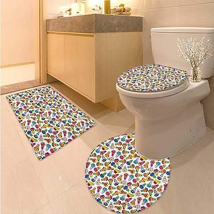 Amazon.com: Anhuthree Kids Bath Rug Set Piece Playful Friendly ...