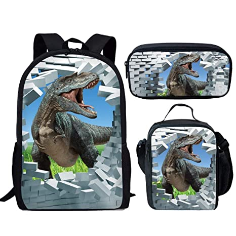 Amazon.com  HUGS IDEA Cool Dinosaur T-rex Backpack Set Kids Boys ... 9dff089f019be