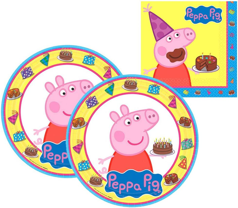 16 Dessert Plates and 16 Beverage Napkins Amscan Peppa Pig Party Pack for 16 Guests