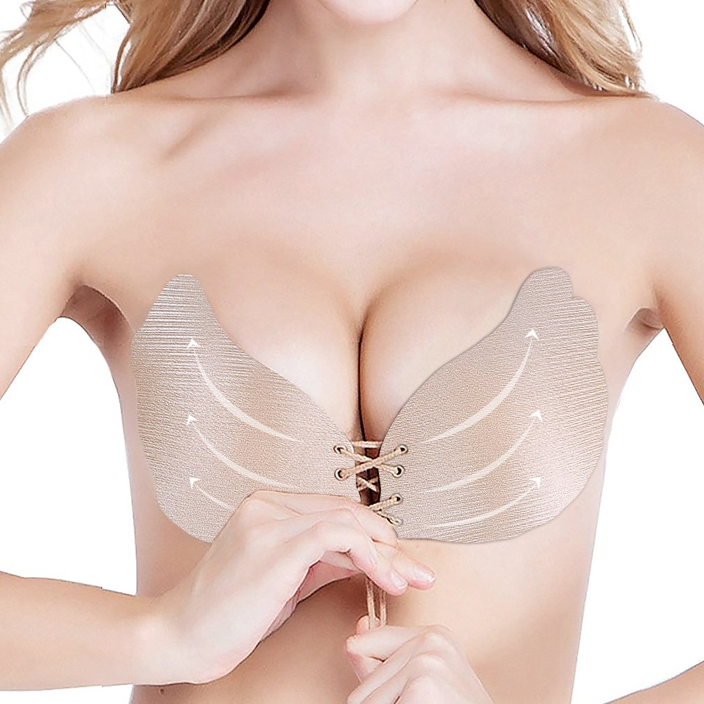 489e8f5479 Adhesive Bra Push up Strapless Sticky Bras for Women Invisible Silicone Bra  at Amazon Women s Clothing store