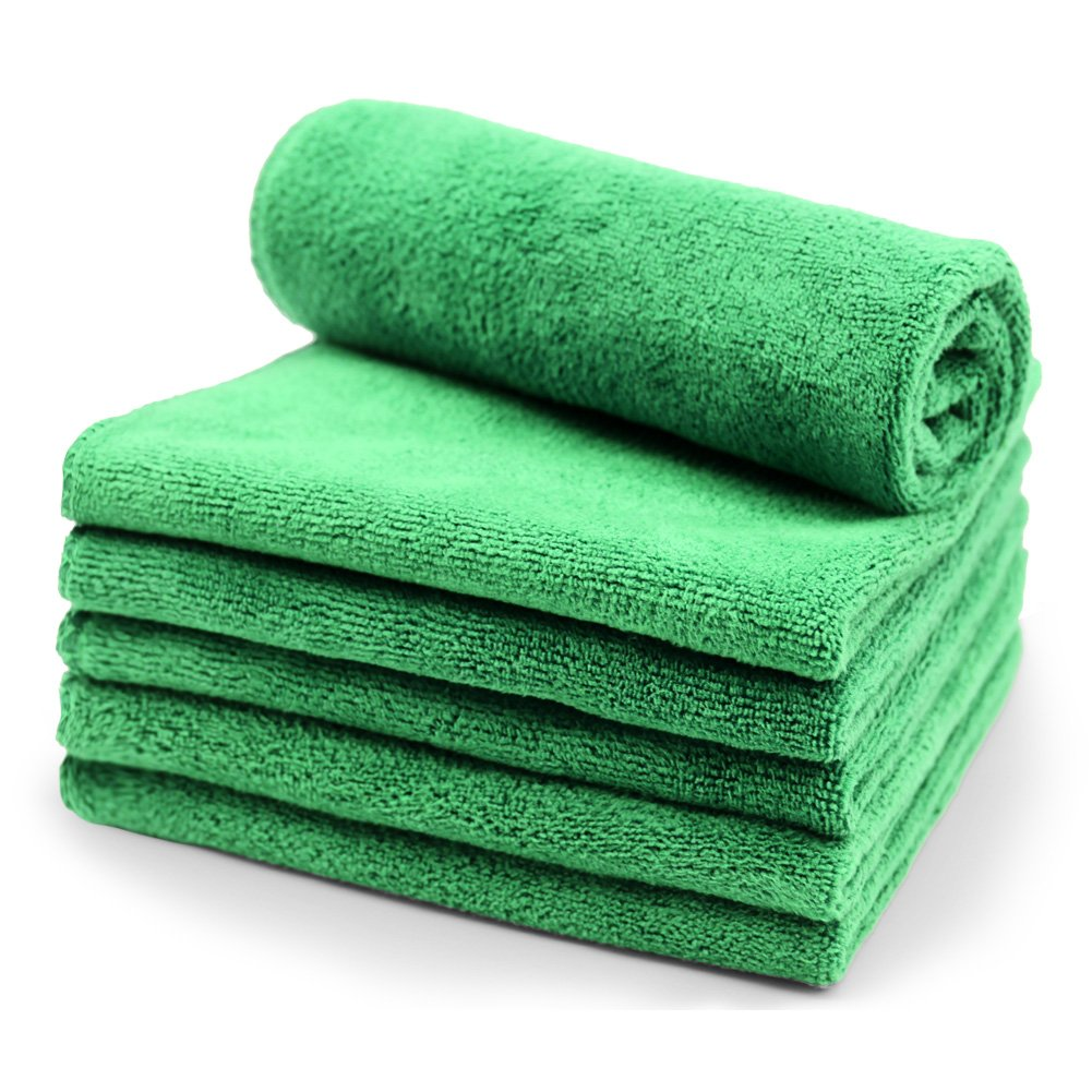 SURPRISE PIE Microfiber Cleaning Supplies Cloths 6 Pack (All-Green)- Duster Rags Sponge for Car Wash Auto Care for Dusting, Scrubbing, Polishing, Absorbing,Home Kitchen,Windows