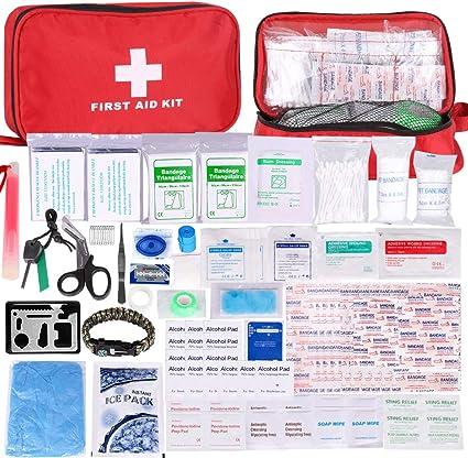 Botiquín de Primeros Auxilios de 200 Piezas,con Hielo, Manta de Emergencia,Máscara de RCP, Survival Tools Kit Bolsa Médica Emergencias para Coche, Hogar, Camping, Caza, Viajes, Aire Libre o Deportes: Amazon.es: Coche y