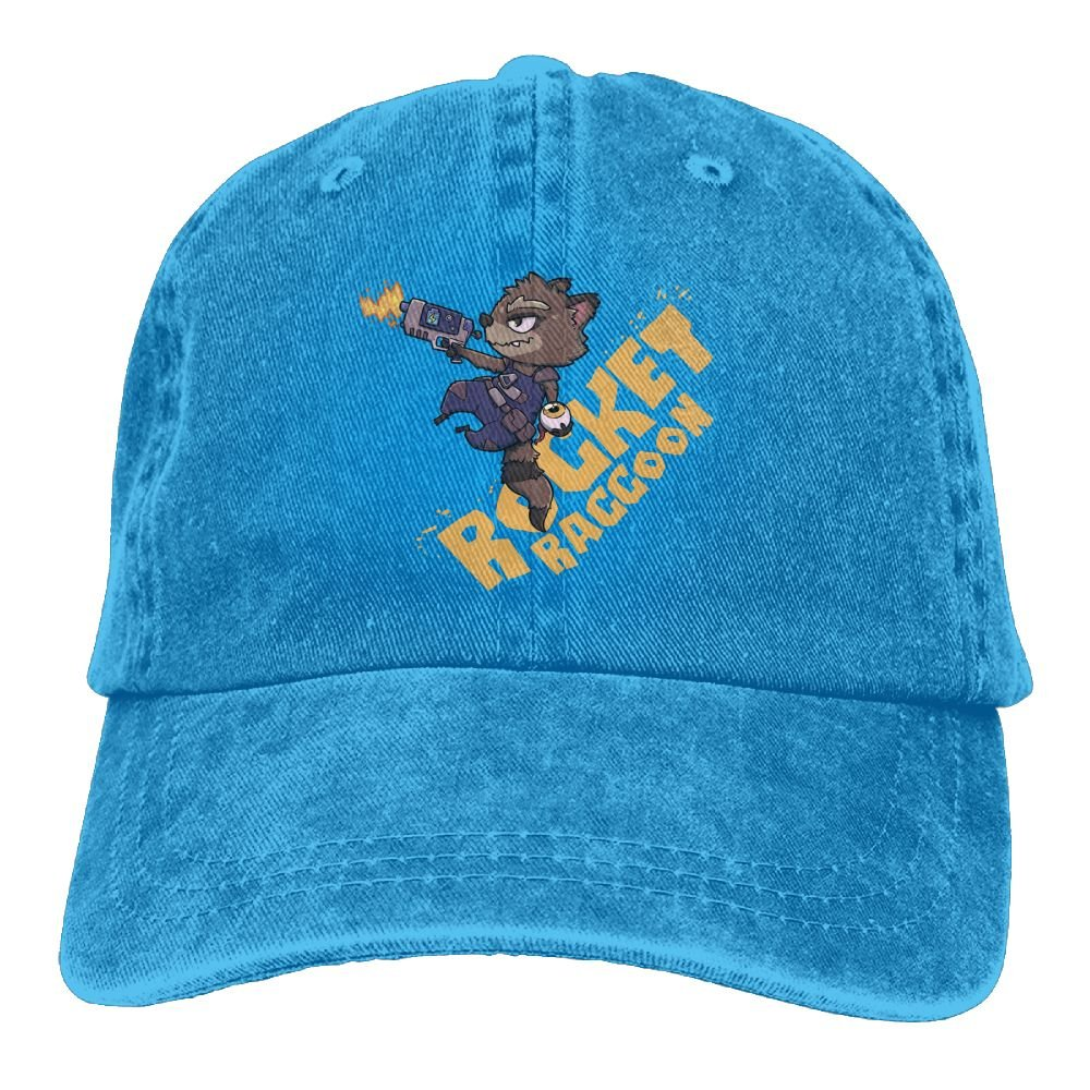 22083f71 XianNonG Rocket Raccoon Men's Black Adjustable Vintage Washed Denim  Baseball Cap Dad Hat Trucker Cap at Amazon Men's Clothing store: