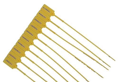 10 x amarillo etiquetas de Seguridad numerados para corbatas ...