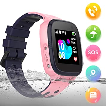 Bhdlovely Smartwatch Niños IP68 A Prueba de Agua Llamada Chat de Voz Reloj Despertador Reloj Niño y Niña Rosa-Q15