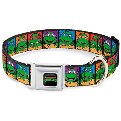 Buckle Down Dog Collar NTA-Classic TEENAGE MUTANT NINJA TURTLES Logo - Classic Teenage Mutant Ninja Turtles Face Blocks Black/Multi Color - WIDE-Large ...