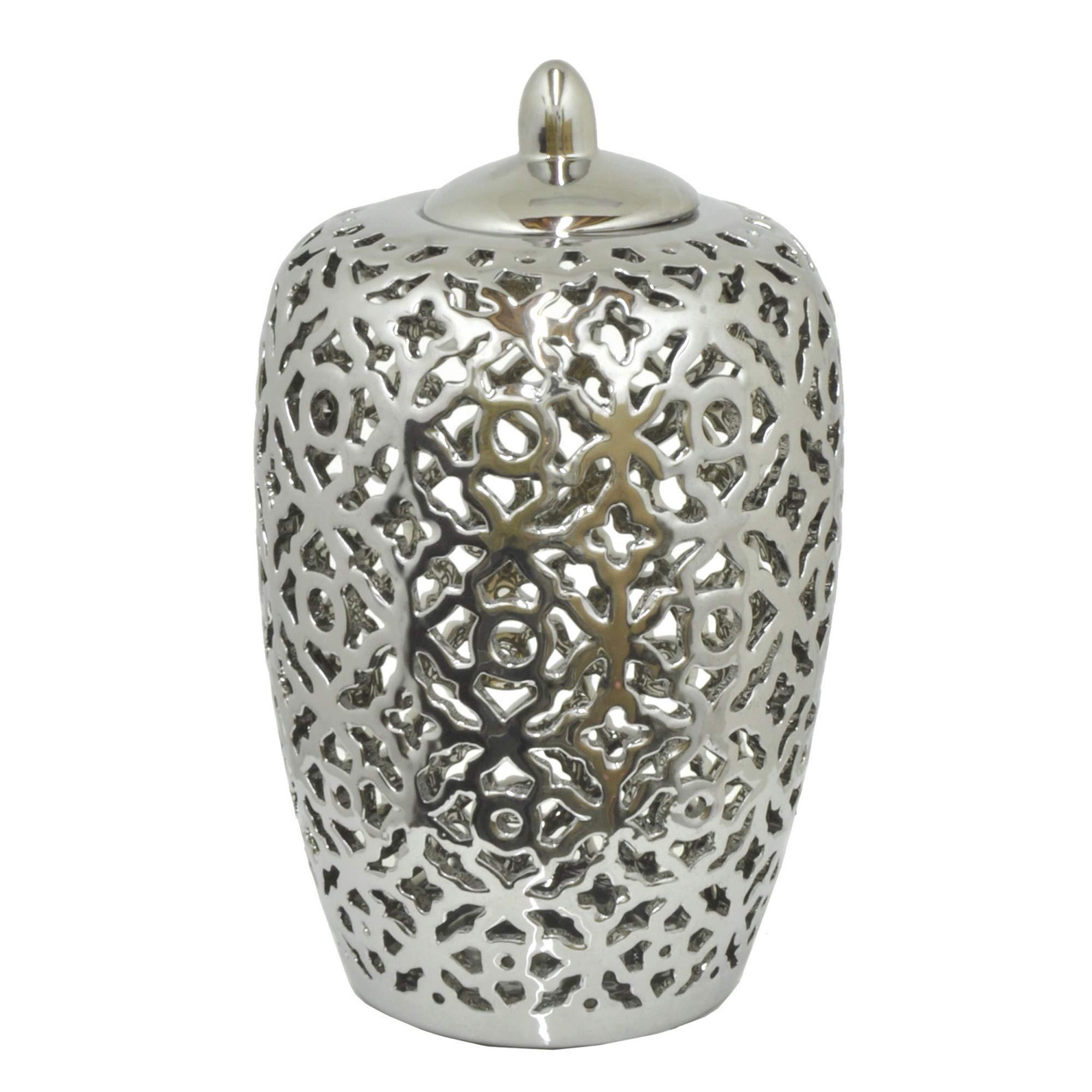 Three Hands 13'' Ceramic Pierced Jar - Silver in Silver