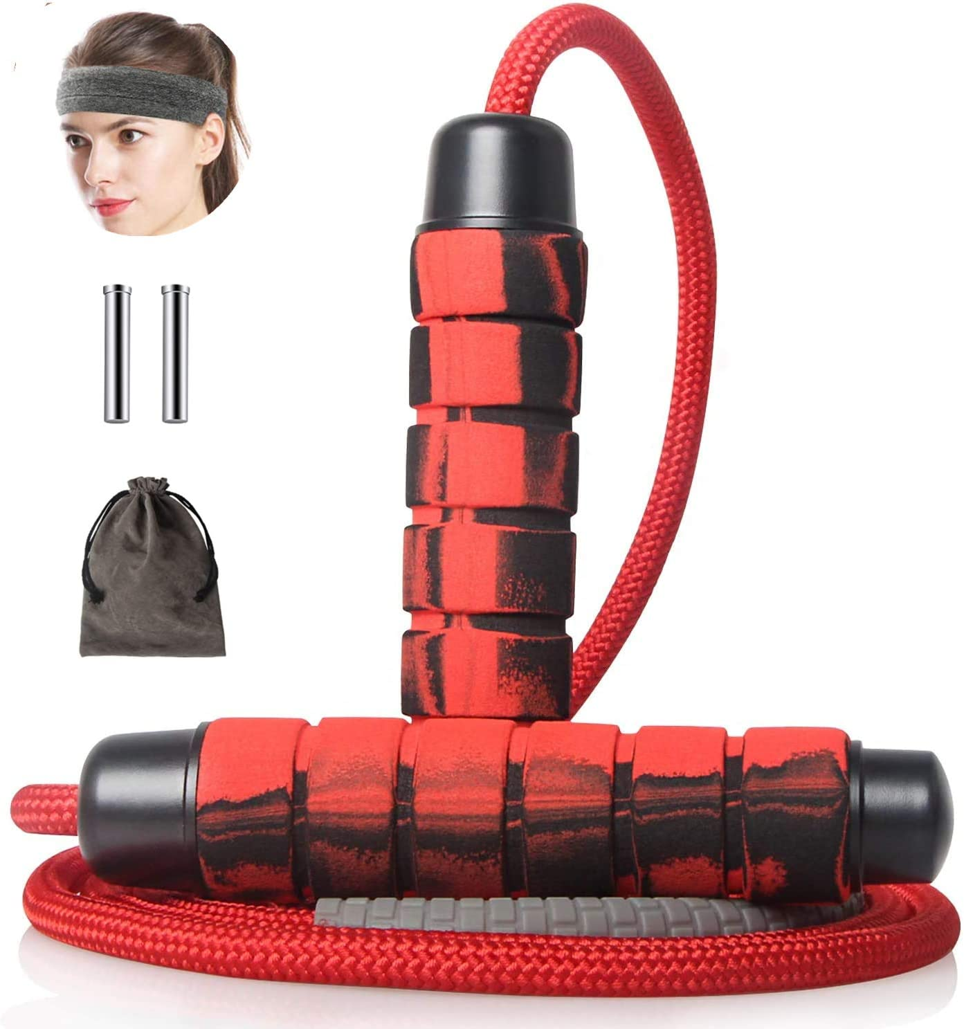 Heavy Jump Rope with Weight Bars Adjustable Fitness Jump Rope Workout Skipping Rope for Men Women Exercise DETUCK Weighted Jump Rope Boxing etc