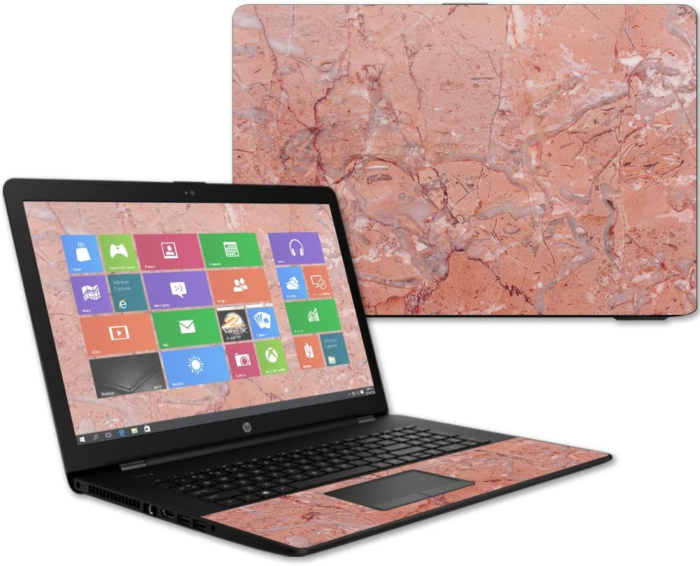 "Mightyskins Skin Compatible with Hp 17t Laptop 17.3"" (2017) - Pink Marble 