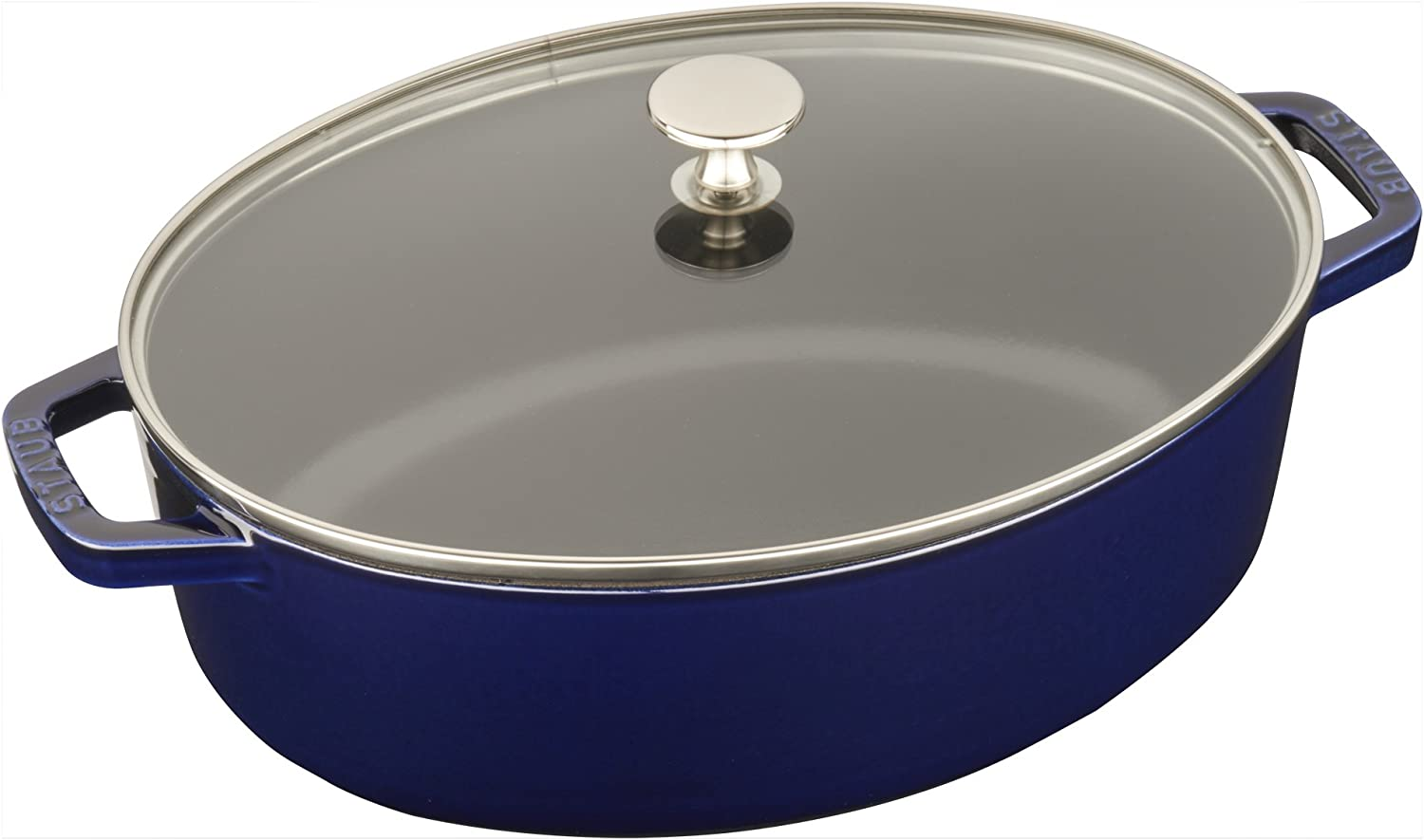 Staub Cast Iron 4-qt Shallow Wide Oval Cocotte with Glass Lid - Dark Blue