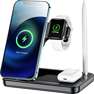 4 in 1 Wireless Charger Station, Qi-Certified Wireless Charging Dock Station Compatible with Apple iWatch Airpods Pro and Pencil, Fast Wireless Charger Stand for iPhone Series 12/12Pro/11/11 Pro Max