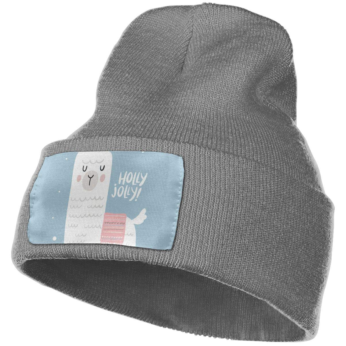 JimHappy Hello Jolly Winter Warm Hats,Knit Slouchy Thick Skull Cap Black