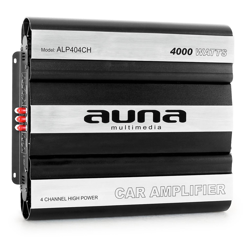 auna ALP404CH • Car HiFi Verstärker • 4-Kanal Auto-Endstufe • Car Amplifier • MOSFET • brückbar • 4/3/2-Kanal Betrieb • 4000 Watt Peak-Leistung • Hoch- / Tiefpassfilter • zuschaltbarer Super Bass &bull