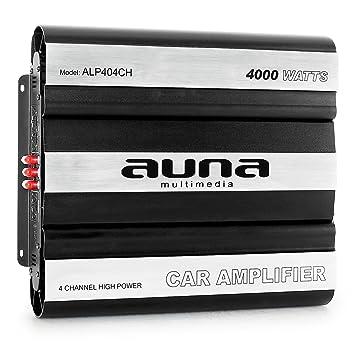 auna Amplificador Coche (4000W de Potencia, 4 Canales, tecnología MOSFET, Compacto, Super Bass Boost): Amazon.es: Electrónica