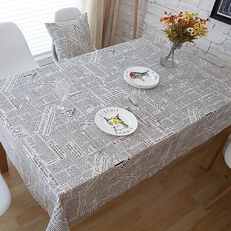 TWYYDP Mantel Blanco Mesa Rectangular,Mantel De Algodón Estampado con Letra De Periódico Negro Tablecloth De Restaurante, Manteles De Navidad,140x280cm: Amazon.es: Hogar