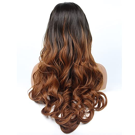 vvBing Synthetic Lone Body Wave Lace Front Wigs Glueless Auburn 2 Tones Ombre Dark Roots to Light Brown Auburn Wig Hair Heat Resistant Fibers Middle Parting ...