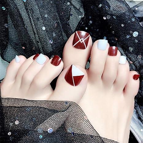 Amazon.com: MENILITHS - 24 uñas postizas cortas para dedos ...