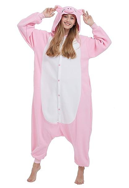 dad1fc42ba9 Kigurumi Pijama Animal Entero Unisex para Adultos con Capucha Cosplay  Pyjamas Cerdo Rosa Ropa de Dormir