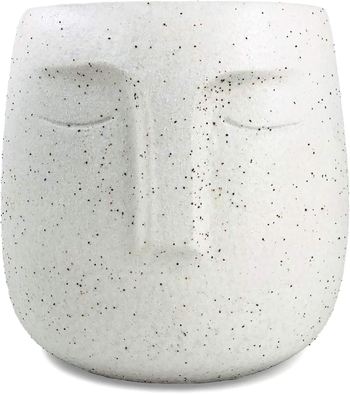 Concrete Planter, Urn for Plants, Modern Indoor/Outdoor Head Planter Face Vase, Statue Plant Pot for Home Decoration, Gift (5'' Tall, White)