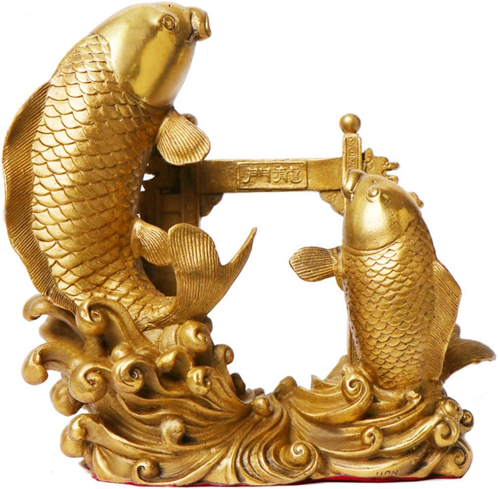 better us Chinese Feng Shui Fish Brass Statue Sculpture Home Office Decoration Tabletop Decor Ornaments for Wealth and Success Good Lucky Gifts