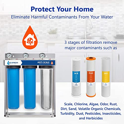 Express Water Whole House Water Filter 3 Stage Anti Scale Home Water Filtration System Sediment, Phosphate, Carbon Filters includes Pressure Gauges, Easy Release, and 1 Inch Connections