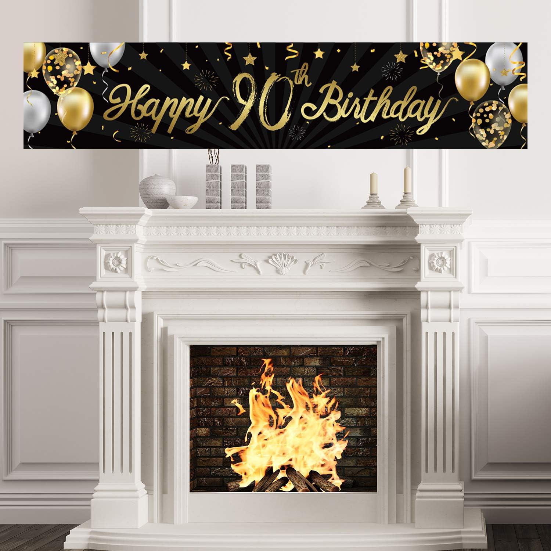 decoraci/ón de fiestas de cumplea/ños celebraci/ón aniversario Pancarta de cumplea/ños con purpurina dorada para 90 a/ños