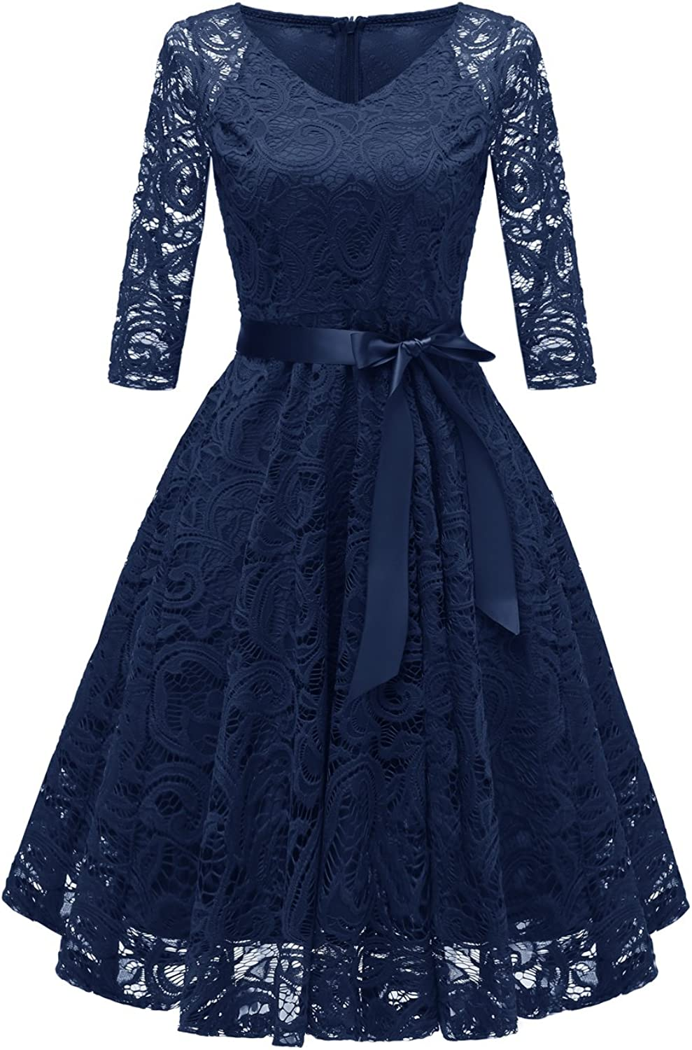 Chowsir Women Fashion V-Neck Formal Lace Evening Party Prom Midi Dress