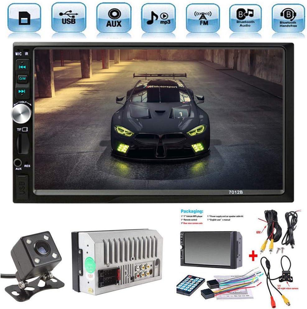 Radio de Coche 2 DIN Car Stereo de 7 Pulgadas HD Bluetooth Manos Libres Pantalla Táctil Radio para Automóvil Bluetooth Manos Libres Radio/FM/USB/AUX/TF con Cámara de Visión Trasera (7in)