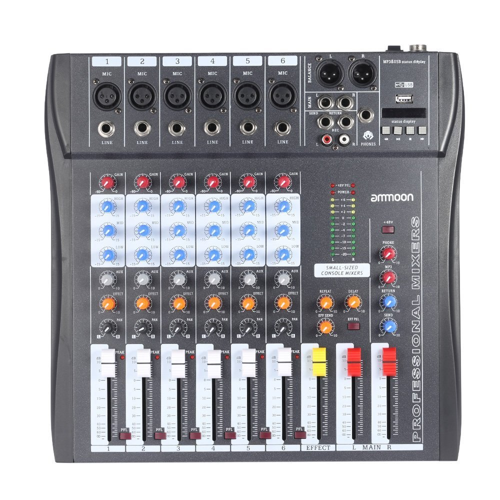 ammoon 60S-USB 6 Channels Mic Audio Mixer Mixing Console 3-band EQ USB XLR Input 48V Phantom Power with Power Adapter BHBUKPPAZINH1969