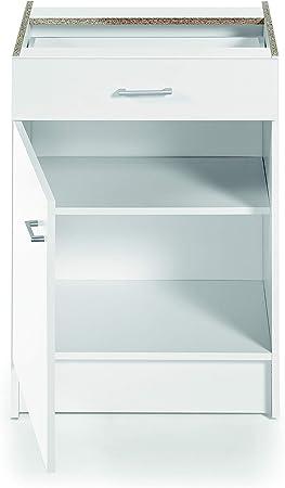 Armario bajo de cocina, blanco, de 60cm, con 1 puerta y 1 ...