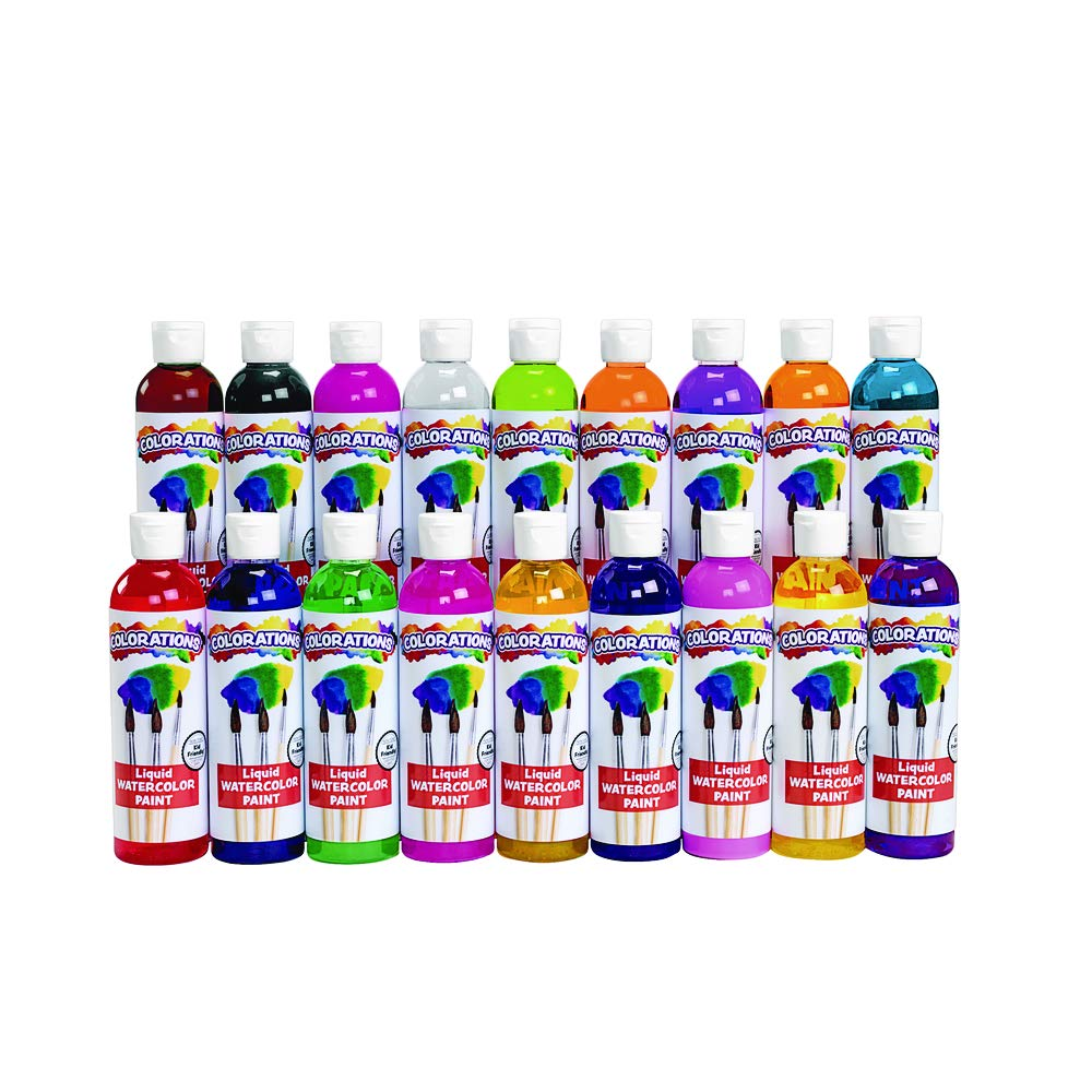 Colorations LW18 Liquid Watercolor Paint, 8 fl oz, Set of 18, Non-Toxic, Painting, Kids, Craft, Hobby, Fun, Water Color, Posters, Cool effects, Versatile, Gift