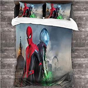 Loruoaine Single Bed Bedding Spiderman far from Home Movie 4k am 3 Piece Bed Sets for Boys Bedroom