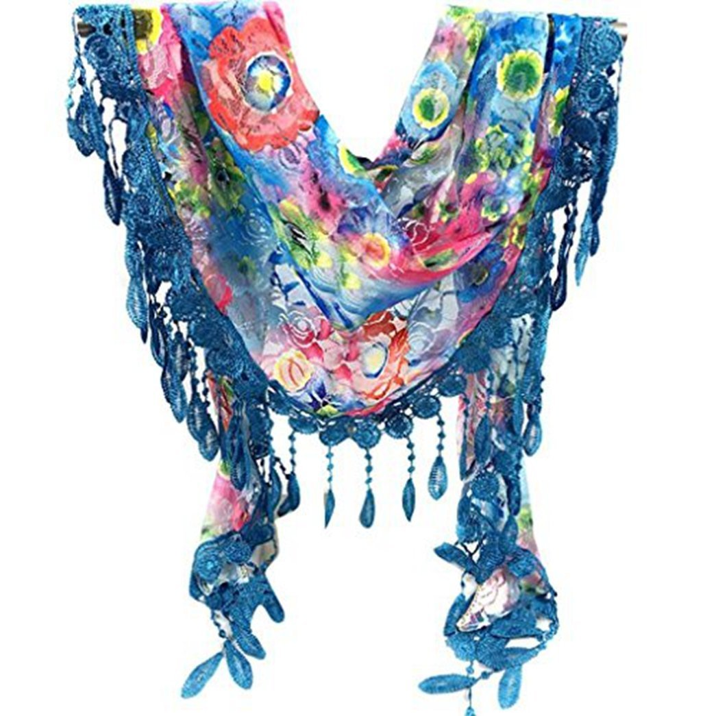 LUQUAN Women Lace Tassel Sheer Scarves Burnout Flower Triangle Scarf Shawl