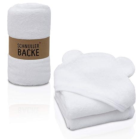 Toalla con capucha para bebés y niños pequeños, 100% algodón, toalla blanca para bebé con ...