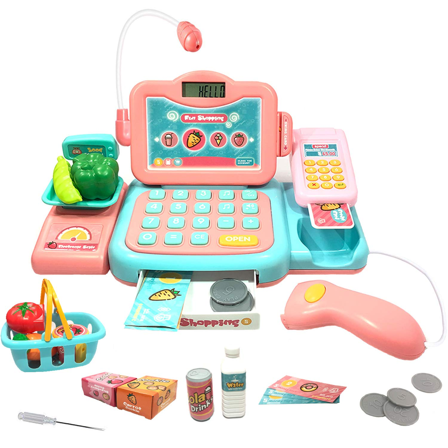 YYoomi Pretend Play Educational Cash Register Toy Classic Counting Toy with Microphone/ Calculator/ Scanner/ Sound/ Music for Kids & Toddlers & Preschoolers by YYoomi