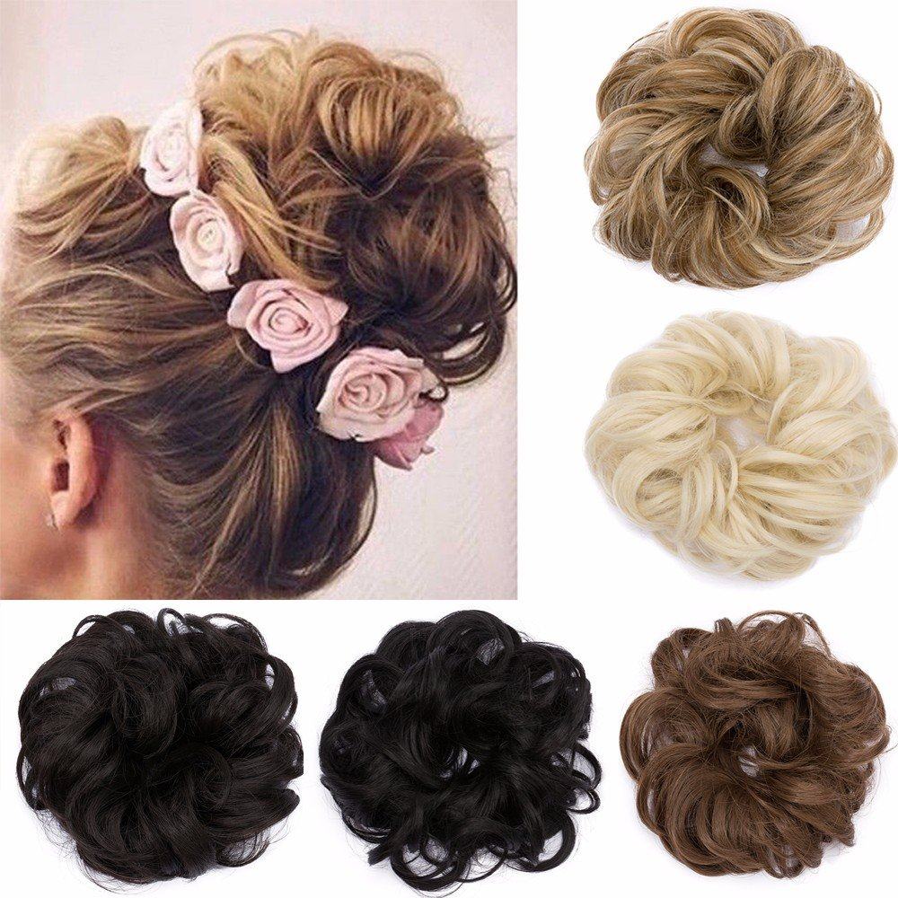Hair Bun Extensions Wavy Curly Messy Dish Donut Scrunchie Hairpiece Chignons Ponytail Pony Tail Updo Synthetic Hair Extension (40G ash blonde) S-noilite