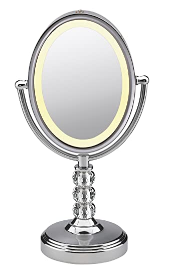lighted makeup mirrors 10x magnification magnifying mirror reviews walmart oval shaped double sided polished